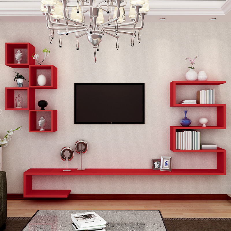 Creative TV background wall decoration frame Partition wall shelf ...