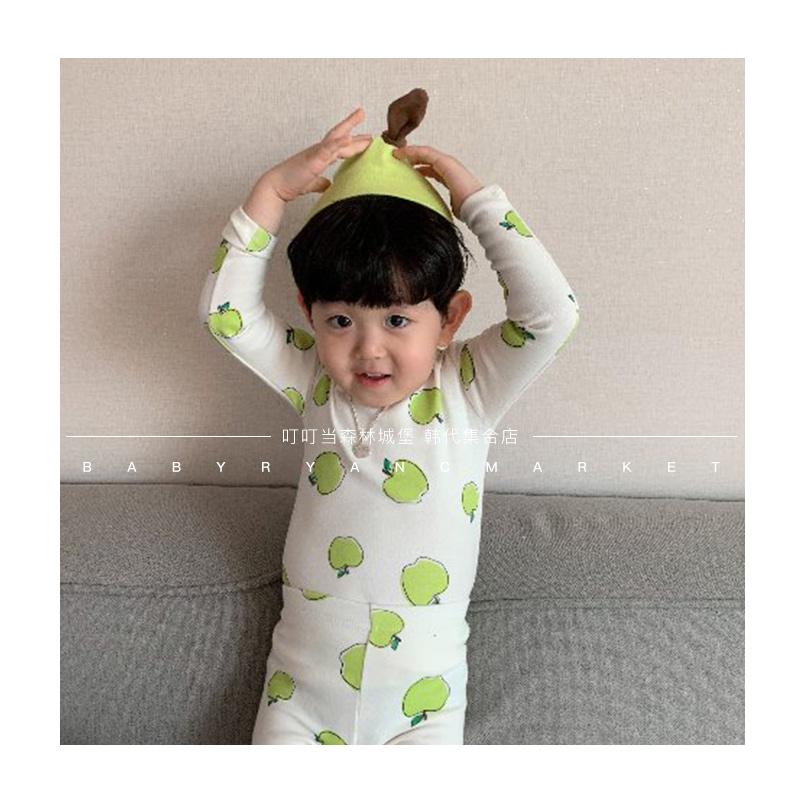 叮当森林韩国童装代购2020春新款 可爱苹果家居服睡衣套装 有大童