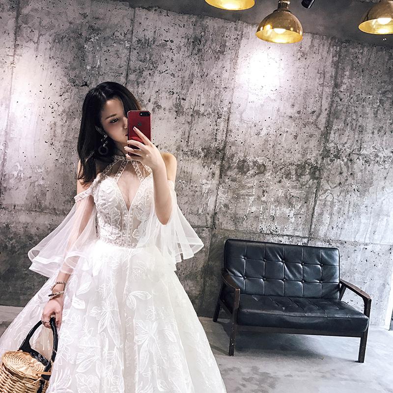 【 небольшой Q домой 】 глубоко V воротник кружево вышивка исключительно вручную гвоздь алмаз повесить за шею невеста свадьба платья 2018 новый тонкий