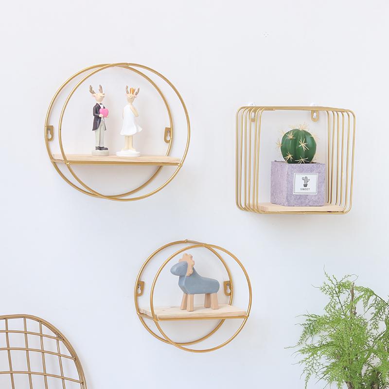 北欧创意铁艺墙上置物架壁挂式卧室房间客厅沙发玄关墙面收纳装饰
