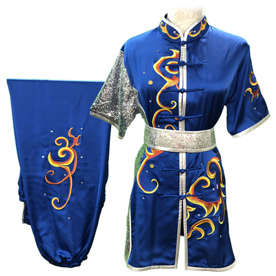 Chinese Martial Arts Clothes Kungfu Clothe Wushu Competition Performing Colorful Clothes, Embroidery Cloud Lake Blue Male and Female Adults