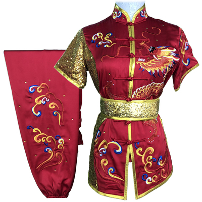 Chinese Martial Arts Clothes Kungfu Clothe  Tai Chi Competitive Wushu Competition Performing Colorful Clothes, Embroidery Dragon,