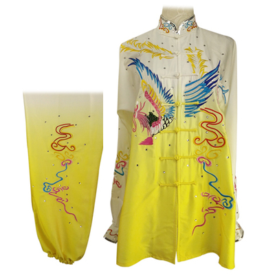 Tai chi Wushu Competition Performing Colorful Clothing for Adults and Children Tailor-made Embroidery Phoenix Gradual Overcolor