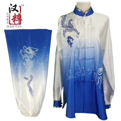 Tai Chi Competition Show Wushu Clothing Long Sleeve Embroidery Dragon Gradual Overcolor Sequins Customized for Adult Children