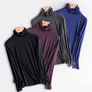 莫代尔高领打底衫女秋冬内搭薄款黑色堆堆领大码秋衣2021春季新款