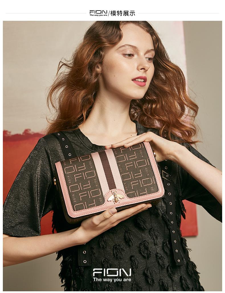 Fion/菲安妮包包,货号: FAAFPLL160,2019新款女士单肩斜挎包 夏季女包时尚小方包