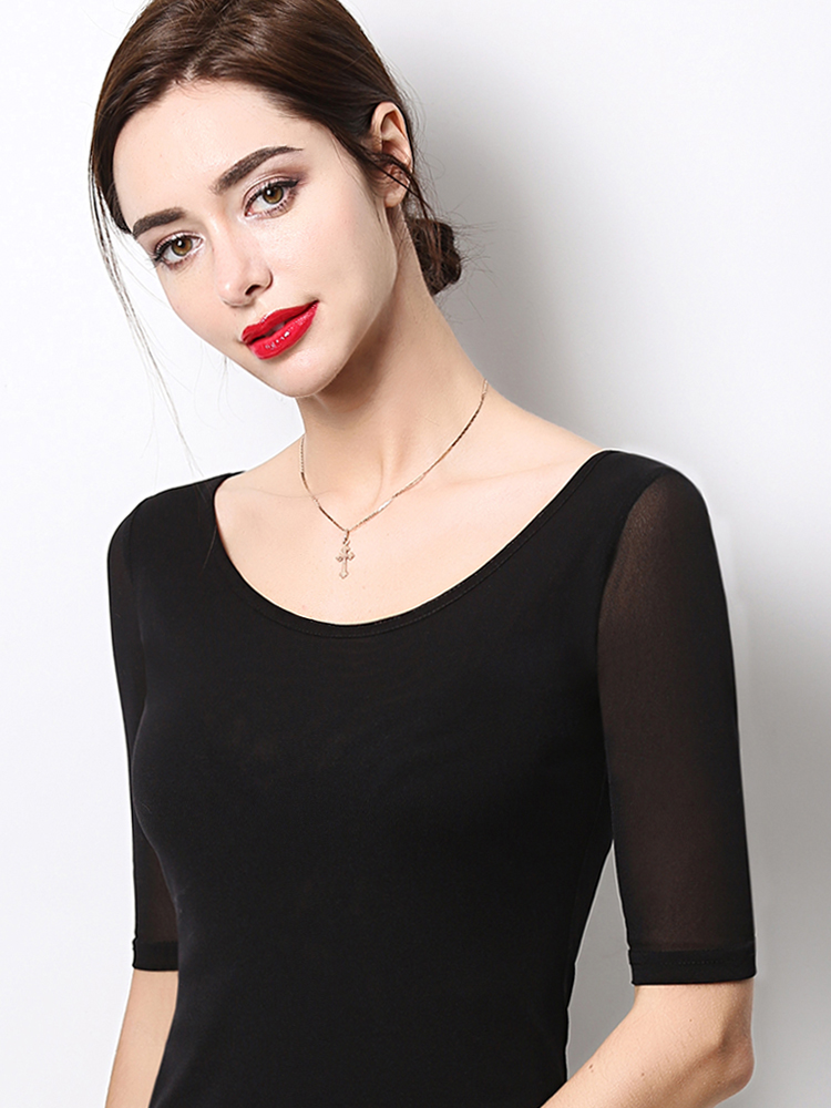 Five-point sleeve T-shirt mesh bottoming shirt 2019 autumn new five-point sleeve large size low-necked slim half-sleeve shirt long sleeve