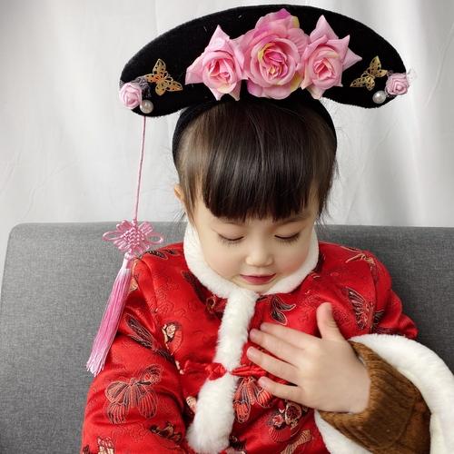 Children's ancient headdress Manchu gege headdress flag head Qing Dynasty little girl's hair band ancient hat props