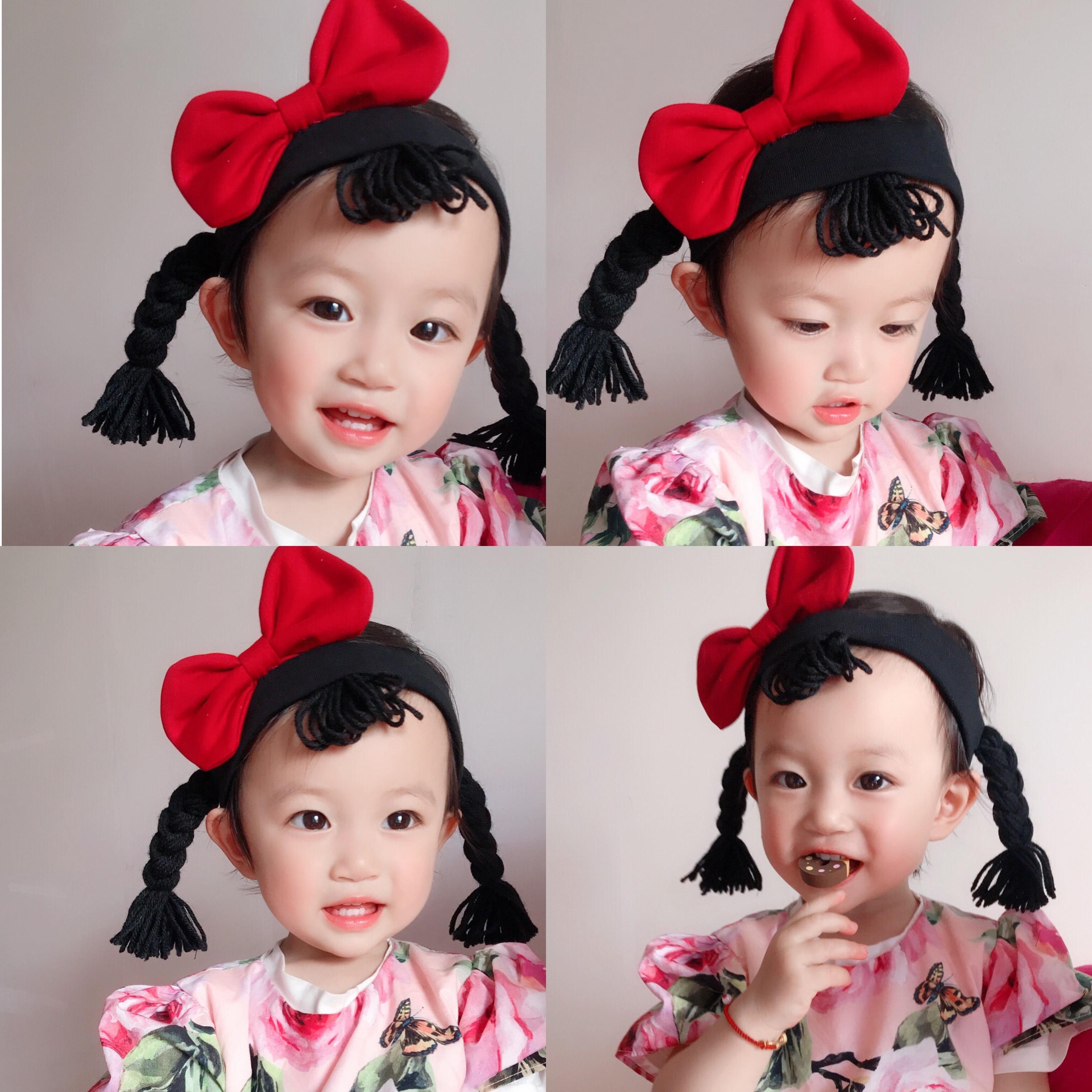 朱莉家 ins男女宝宝蝴蝶结假发辫子发带满月周岁发箍头发饰头饰