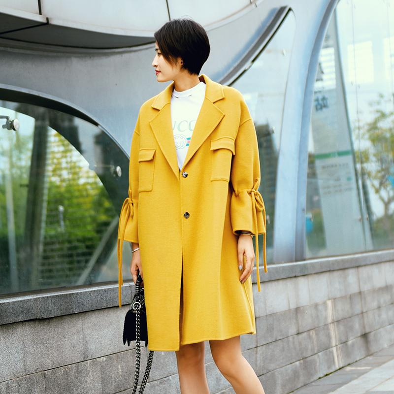 Áo khoác nữ mùa thu và mùa đông mới, áo khoác len nữ handmade Úc, áo len dài đến giữa - Trung bình và dài Coat