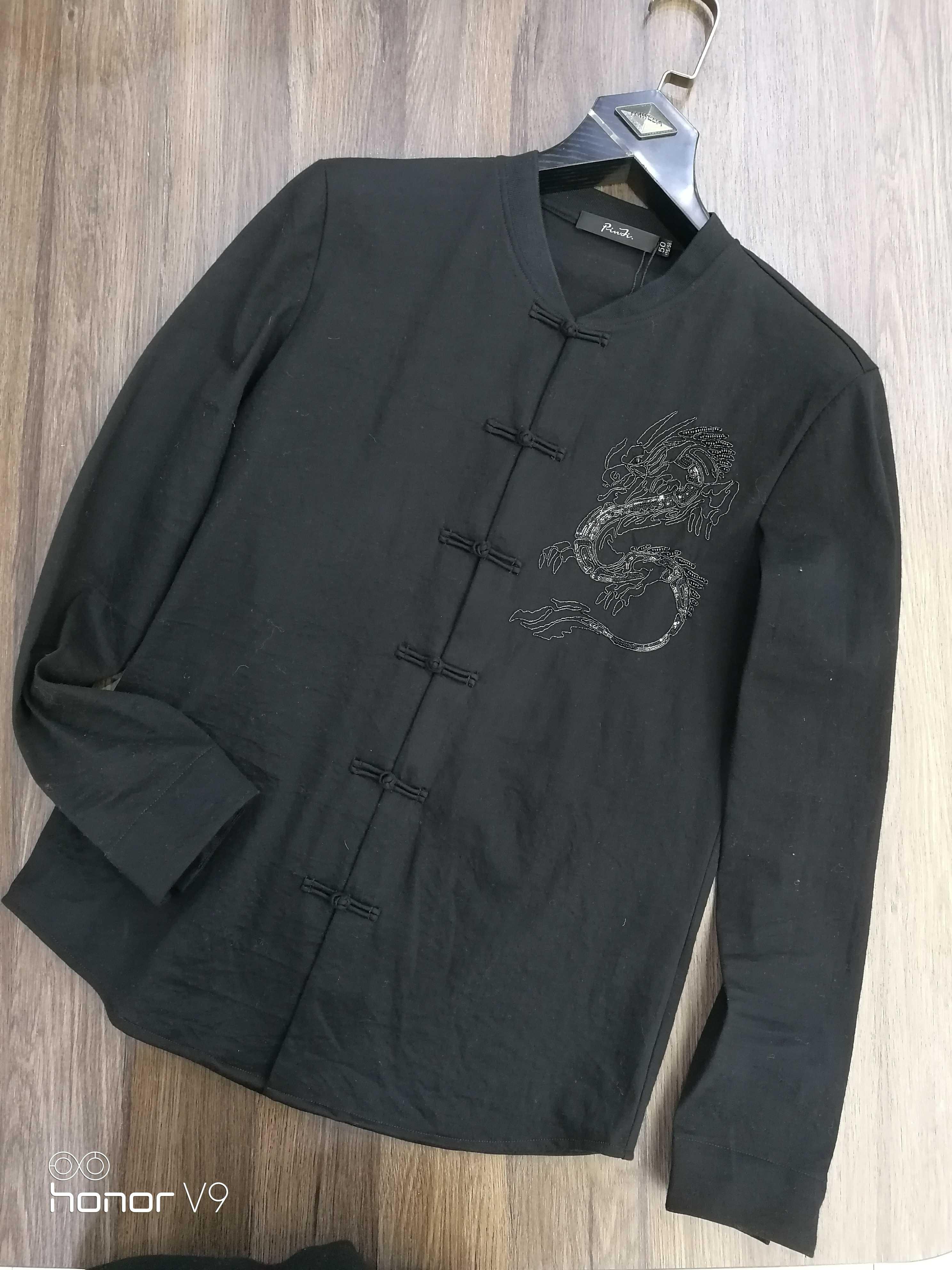 豪威堡衬衫男春秋季绣花黑色寸衬衫欧版修身时尚棒球领中华扣简欧
