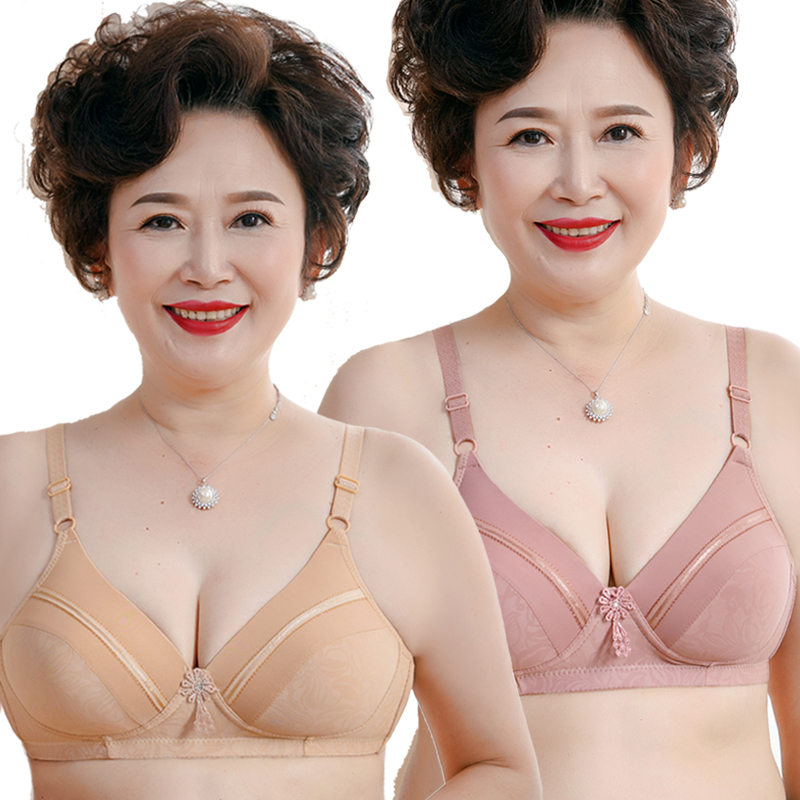 Mom bra thin comfort no steel ring middle-aged underwear plus code old man non-cotton lady bra universal