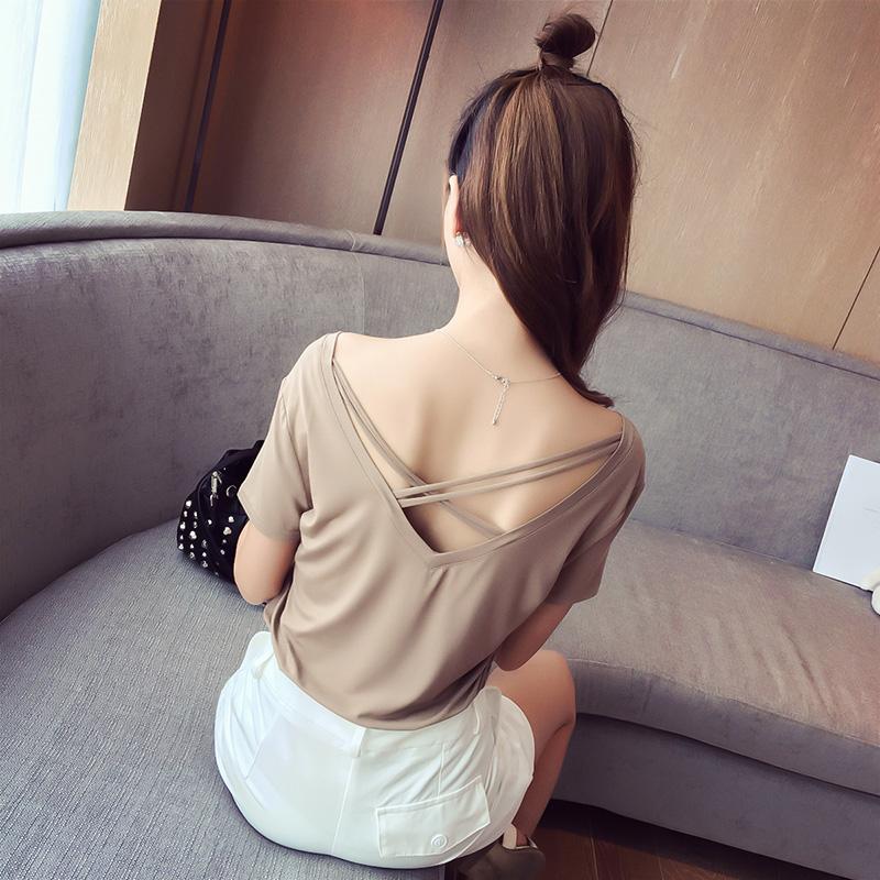 妮妮家实拍 2016韩版时尚性感交叉低胸露胸前后2穿露背T恤显瘦女