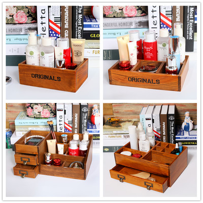 Free shipping desktop finishing solid wood jewelry cosmetic lipstick storage box with drawer multifunctional wooden storage box