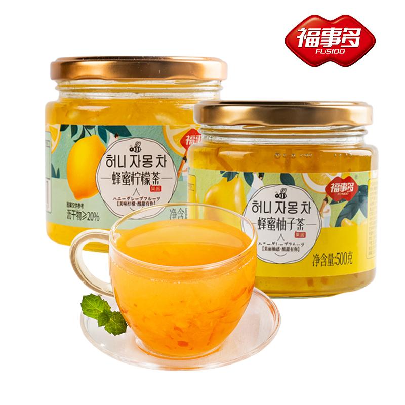 福事多蜂蜜柚子百香果柠檬茶罐装冲饮水果茶泡水喝的东西冲泡饮品