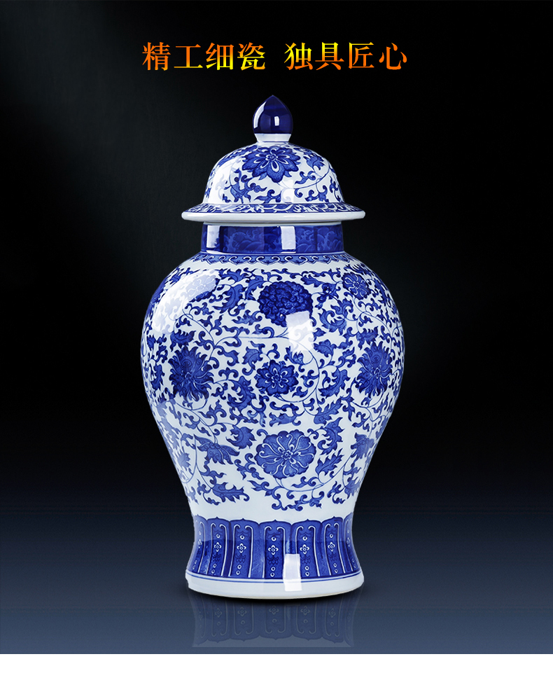 Jingdezhen ceramics general archaize of blue and white porcelain jar with cover large storage tank is Chinese style household adornment furnishing articles