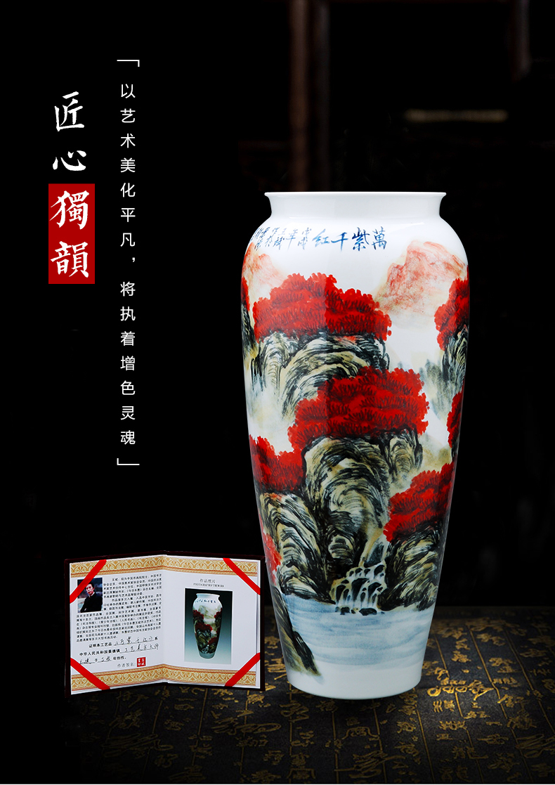 Jingdezhen ceramics by hand big vase landed high bottle cylinder straight household act the role ofing is tasted furnishing articles in the living room