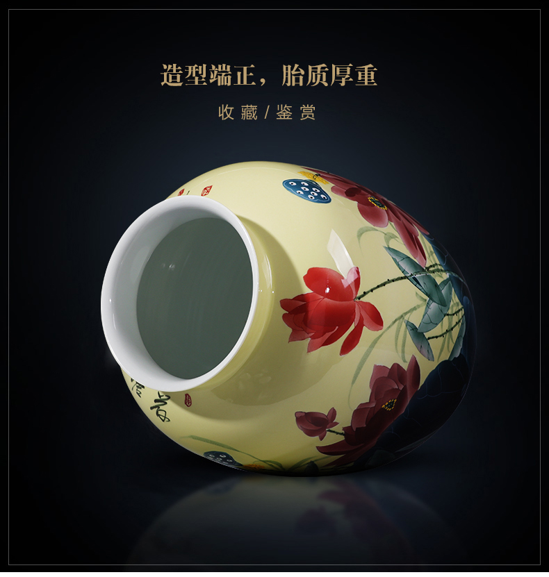 Jingdezhen ceramics hand - made lotus expressions using vase furnishing articles sitting room flower arranging rich ancient frame of Chinese style household ornaments