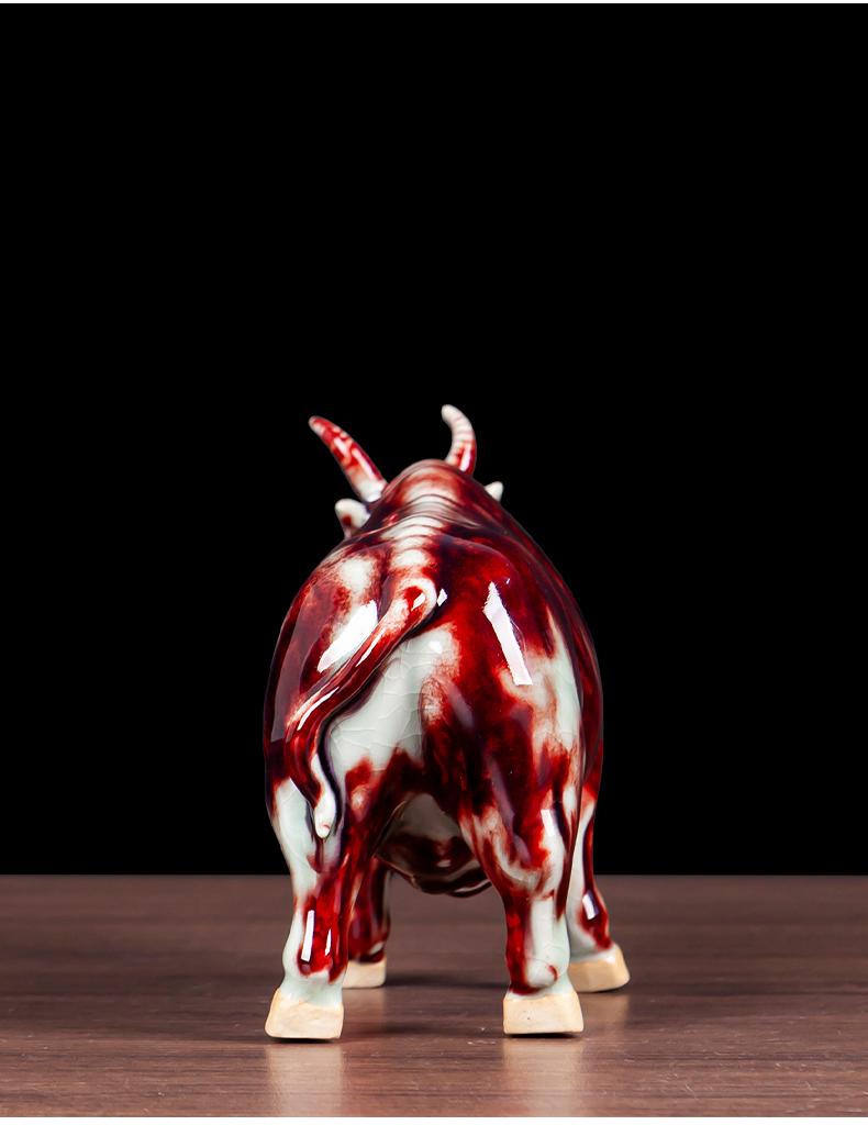 Jun porcelain borneol WuNiu, auspicious figure ceramic creative living room office furnishing articles home decoration craft gift porcelain