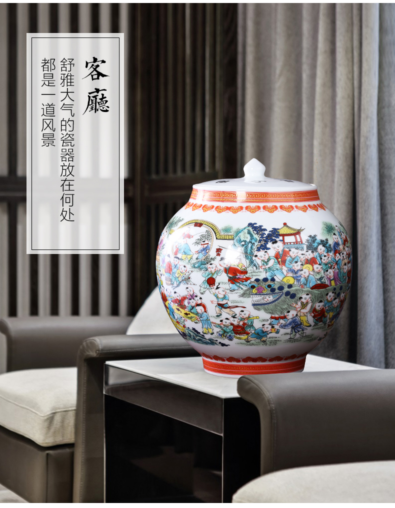 Jingdezhen ceramics vase with cover the ancient philosophers figure storage jar the receive furnishing articles of Chinese style household adornment sitting room