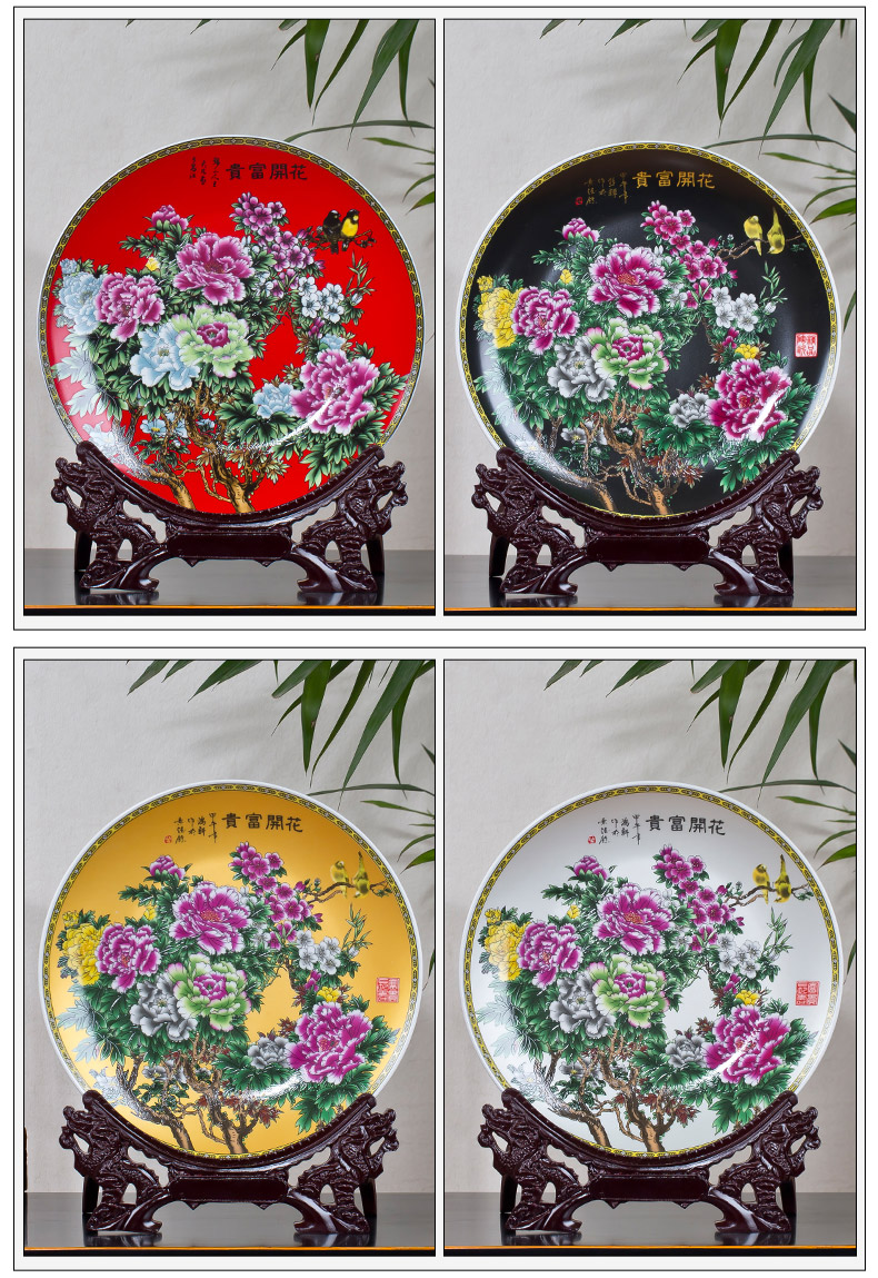 Jingdezhen ceramics pastel blue and white porcelain decoration plate hang dish place of the sitting room of Chinese style household wine accessories