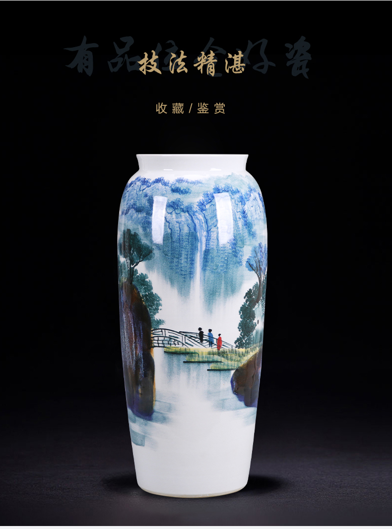 Jingdezhen ceramics hand - made landing large quiver straight vase furnishing articles of new Chinese style home sitting room adornment