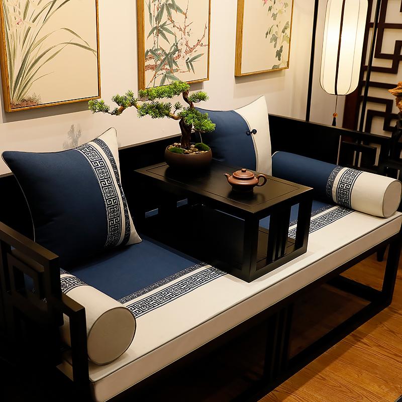 Mới phong cách Trung Quốc gỗ rắn La Hán nệm năm mảnh cổ điển gỗ gụ nội thất đệm bông và vải lanh thoáng khí chống trượt mùa hè - Ghế đệm / đệm Sofa