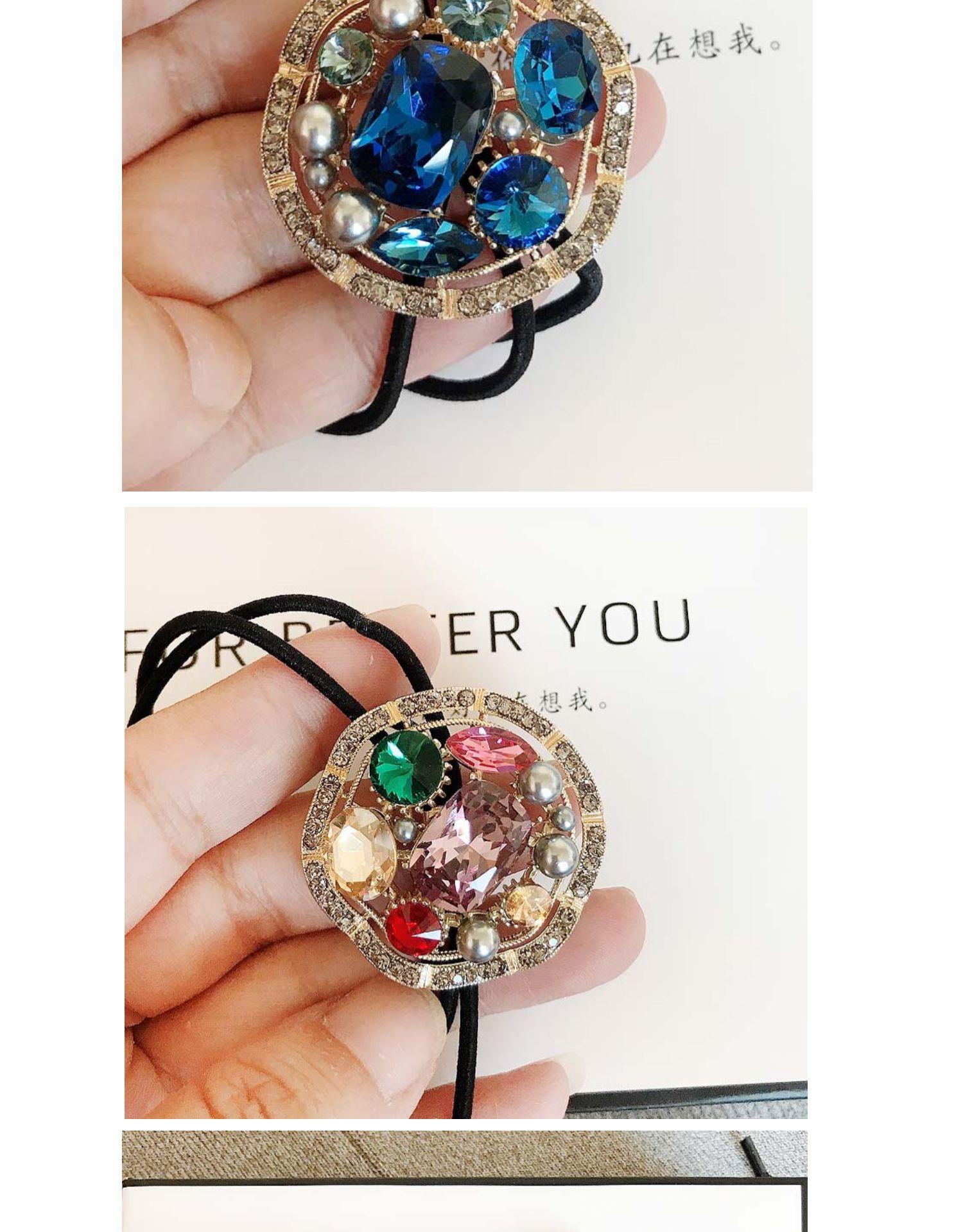 中國代購|中國批發-ibuy99|设计感奇光异彩人工宝石发圈扎发皮筋时尚发绳精致百搭发饰包邮
