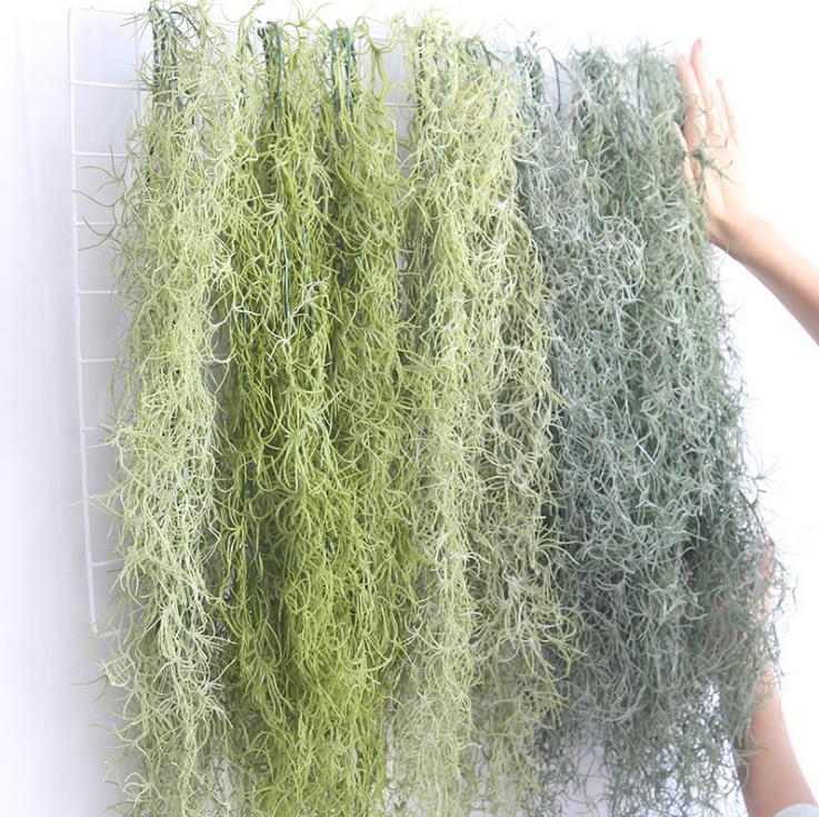 仿真空气草老人须绿植墙面装饰植物绿色森系造景假花壁挂空中垂吊