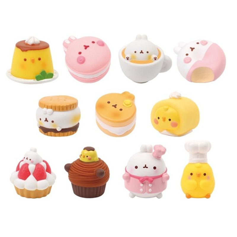 Spot Korea Molang tráng miệng bánh thỏ pudding gà nhỏ màu vàng dễ thương búp bê tay mù hộp trang trí thực phẩm chơi - Capsule Đồ chơi / Búp bê / BJD / Đồ chơi binh sĩ