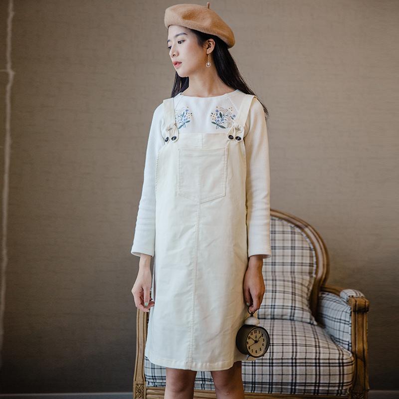 Слива спелый были ретро департамент юбка женщина верхняя одежда весна новый литература и искусство платье небольшой свежий ремень юбка