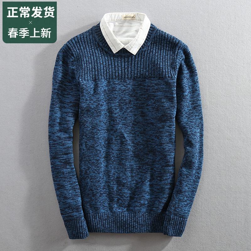 Mùa xuân và mùa thu mới áo len cotton nam Cổ tròn ôm sát áo len dày ấm áp Áo len cotton nam - Kéo qua