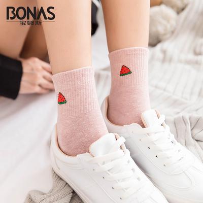 5双装宝娜斯刺绣可爱韩版学院风女棉袜日系简约个性春秋款袜子女