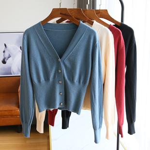 针织开衫外套女长袖薄款毛衣短款秋装