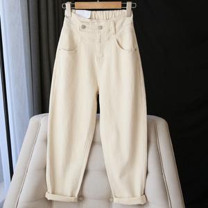 巨显瘦米白色牛仔裤女高腰宽松直筒哈伦老爹