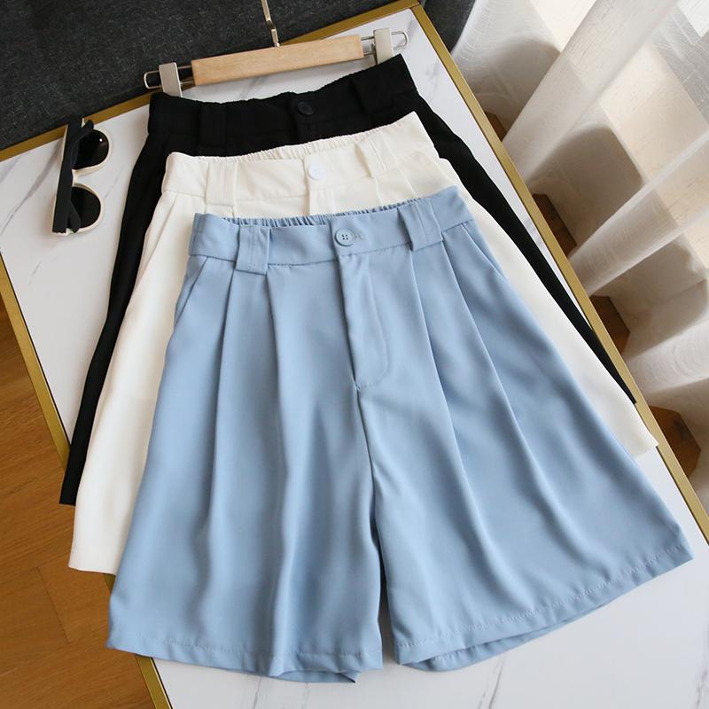 白色西装短裤女高腰宽松阔腿五分中裤子
