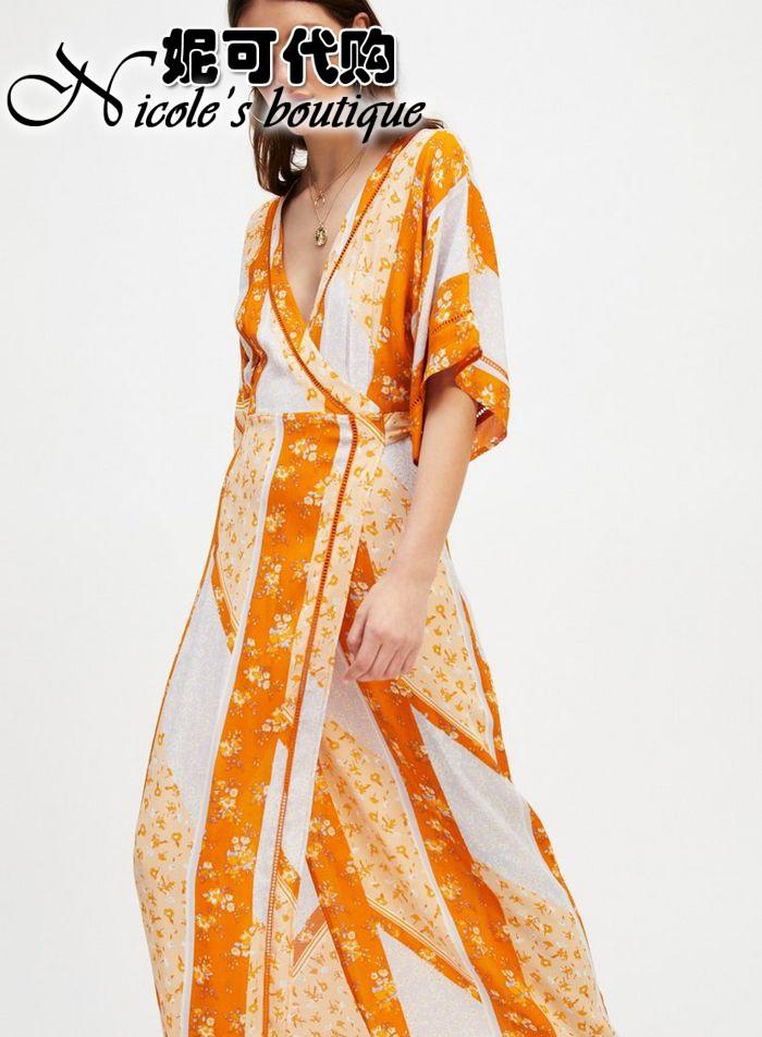 【直邮MissSelfridge英国印花】橘色代购和风V领系带连衣裙长裙