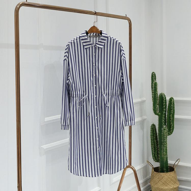 五期●新款连衣裙2019春装品牌折扣女装9A1305单排扣条纹收腰显瘦