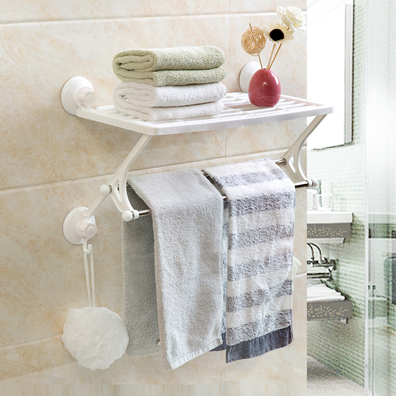 USD 12.68] Home Home suction Cup Double towel rack free punch towel ...