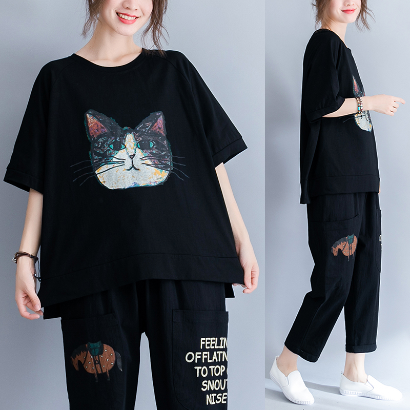 2019 Real Shot Artistic Simple Cotton Comfort Cartoon Printed Cat by Age Fat Mm Was Thin T-shirt 45