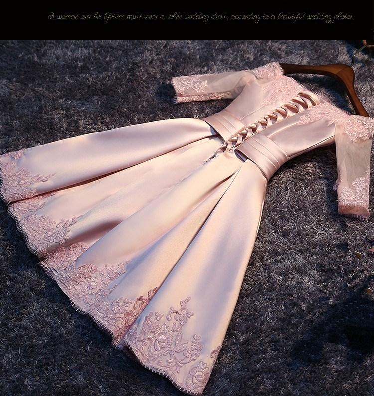 冬季婚宴大码婚礼服蕾丝聚会裙子晚宴显瘦伴娘礼服女短款蓬蓬裙。