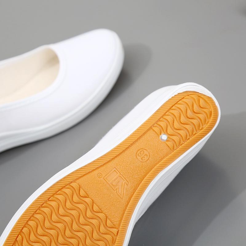 白护士鞋美容院工作舒适老北京布鞋全白小白鞋女防滑单鞋透气夏季详细照片