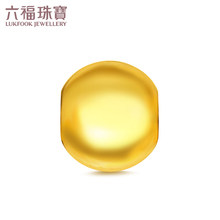 Lukfook Jewelry Pure Gold Glossy Round Bead Passepartout Transfer Bead Gold Pendant Gift Pricing B01TBGP0009