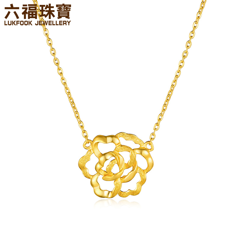 fu jewellery peony flower gold necklace pendant female hollow ...