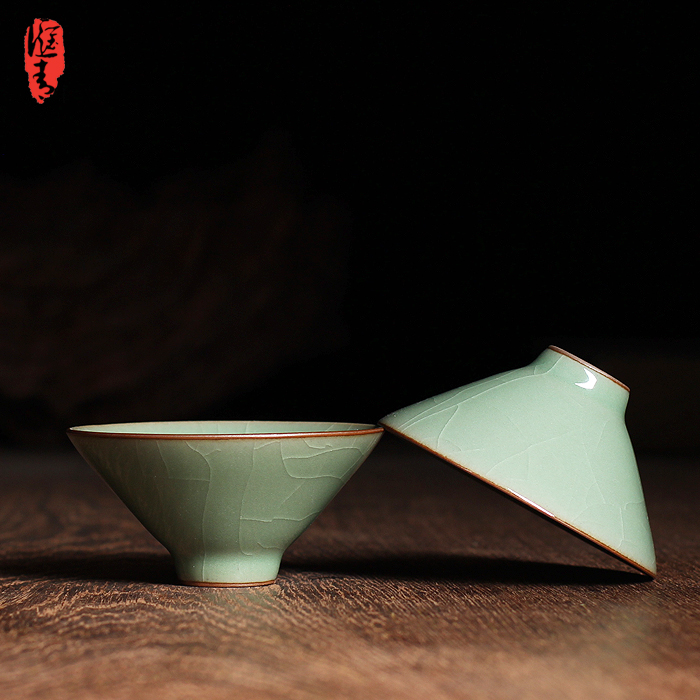龙泉青瓷哥窑开片杯子小斗笠品茗杯茶具陶瓷小功夫茶碗茶盏普洱杯