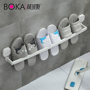 Bathroom slippers rack free punch bathroom toilet door after draining the wall hanging shelf shoe storage artifact