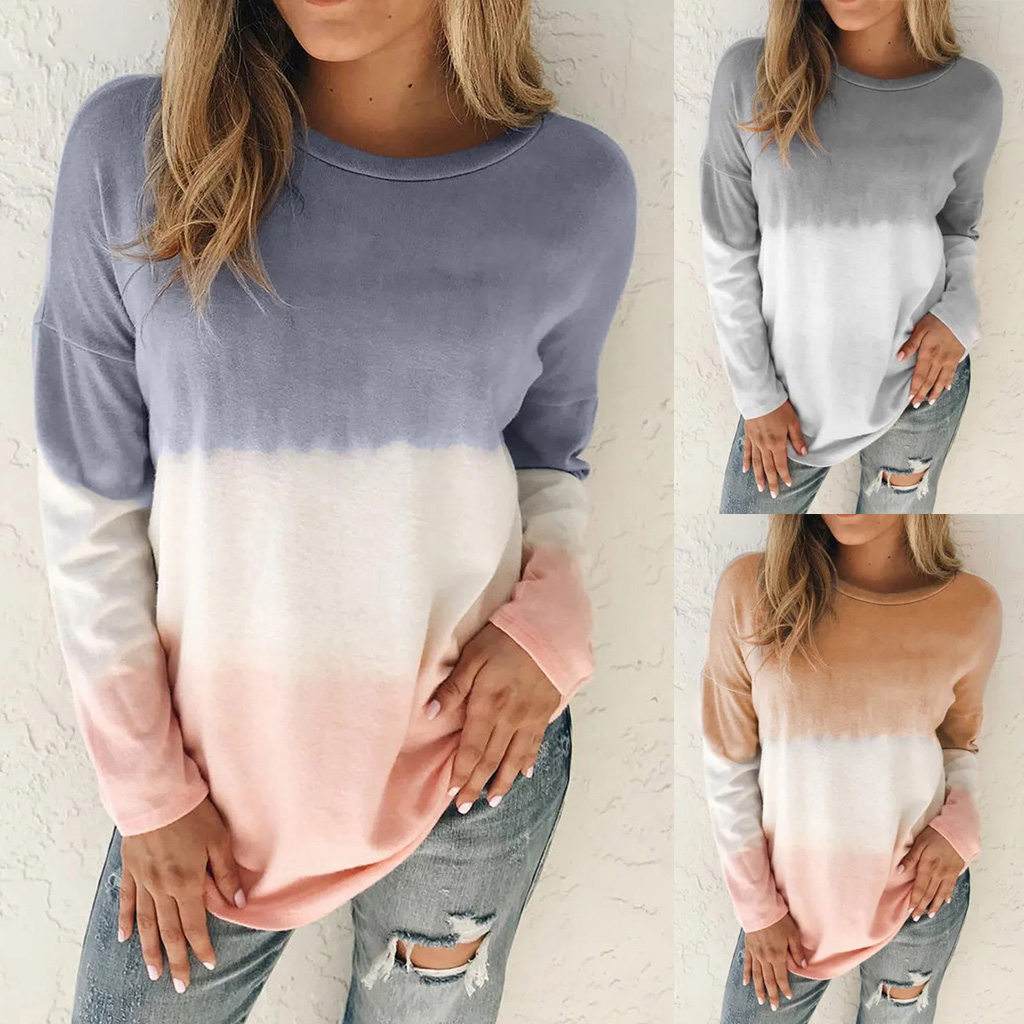 women's printed tie-dye gradient long-sleeved round neck T-shirt sweater NSYF1843