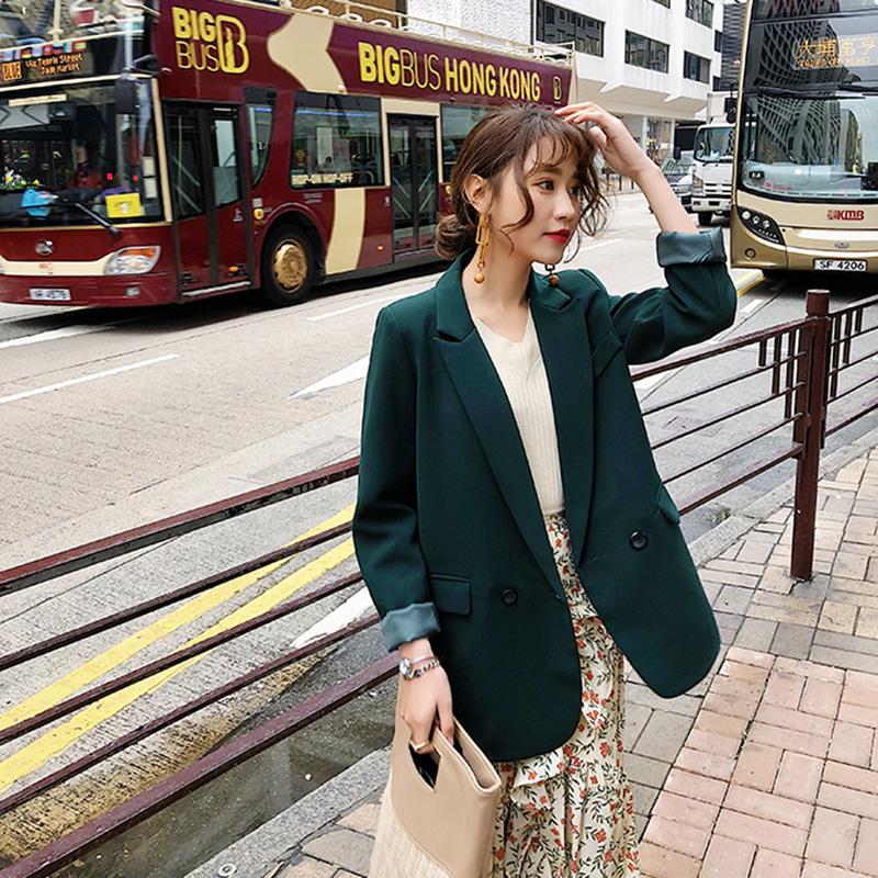 春秋韩版新款chic宽松v纯色网红小西装女纯色中长款复古西服外套潮