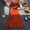 The new French retro temperament V-neck Hepburn style waist thin pleated dress Fashion temperament large swing dress