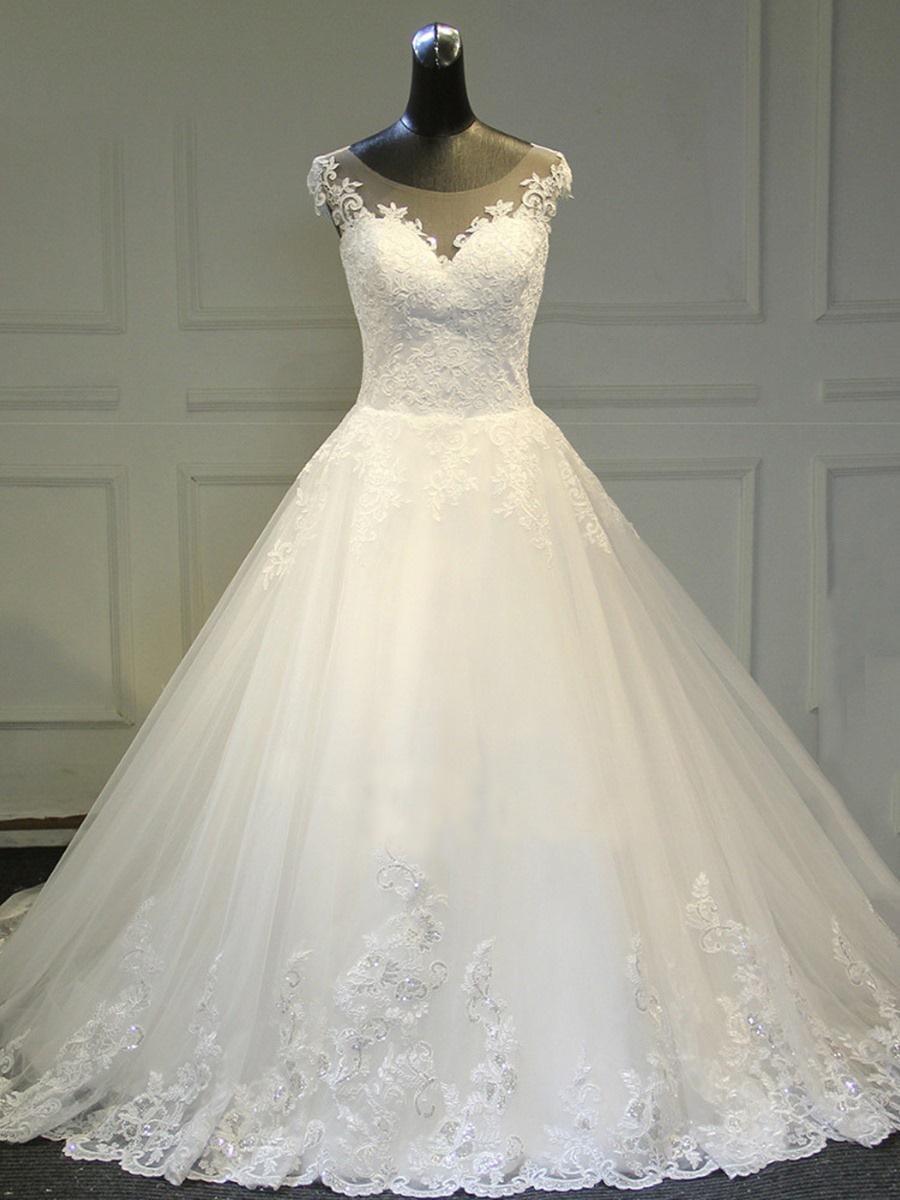 新娘婚纱礼服2020新款夏蕾丝小圆领拖尾时尚婚纱包肩外贸修身显瘦